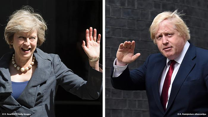 Kombi-Bild Theresa May Boris Johnson