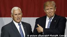 USA Mike Pence und Donald Trump in Westfield