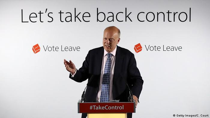 Großbritannien Chris Grayling Vote Leave Kampagne