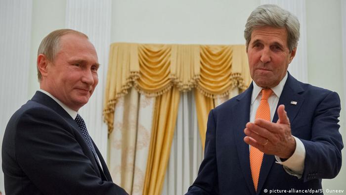 Vladimir Putin, right, and John Kerry