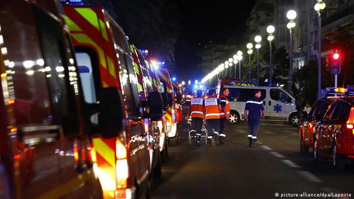 Emergency services on Nice'S promenade