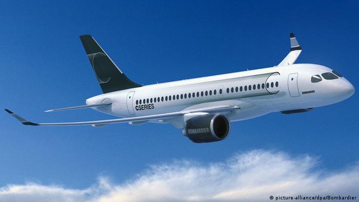 Flugzeug Bombardier CS100 (picture-alliance/dpa/Bombardier)