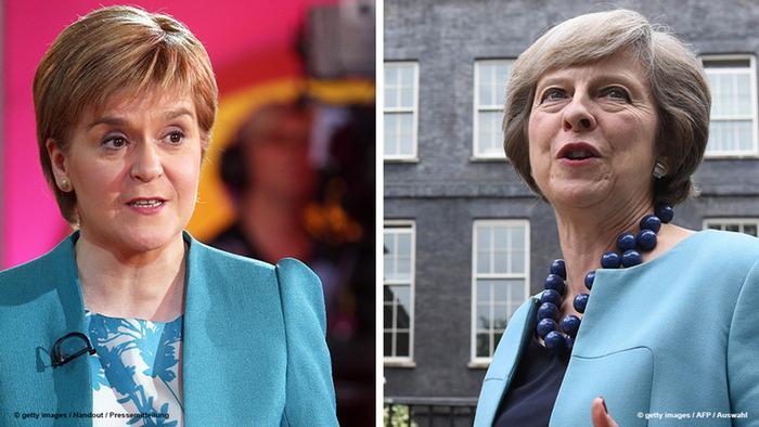Scotland's First Minister Nicola Sturgeon (L) and UK PM Theresa May.