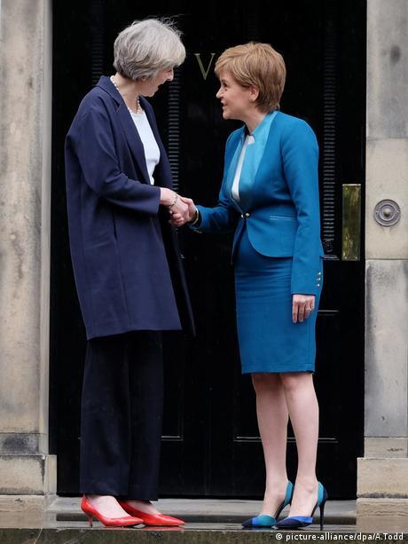 UK PM Theresa May with Scotland's First Minister Nicola Sturgeon