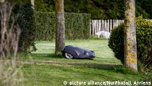 An automated lawn mowing machine or robot is seen mowing a lawn