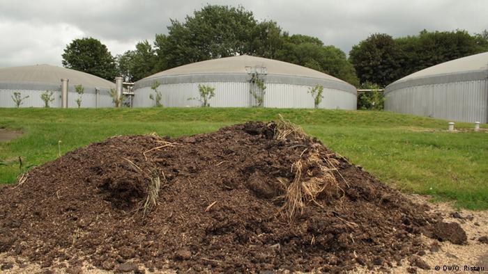 Gärreste vor einer Biogasanlage in Belgien (Foto: DW/O. Ristau).
