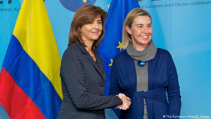 Belgien EU Vertreterin Mogherini und Außenministerin Kolumbiens Holguín
