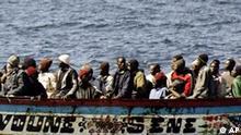 Flüchtlinge aus Afrika auf dem Weg nach Teneriffa Spanien