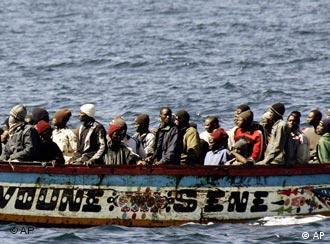 A boat load of migrants from Africa