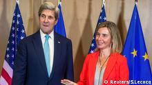 Belgien John Kerry und Federica Mogherini EU Außenministertreffen in Brüssel