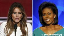 Kombobild Michelle Obama, Melania Trump