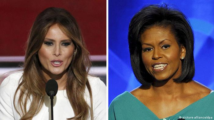 Kombobild Michelle Obama, Melania Trump
