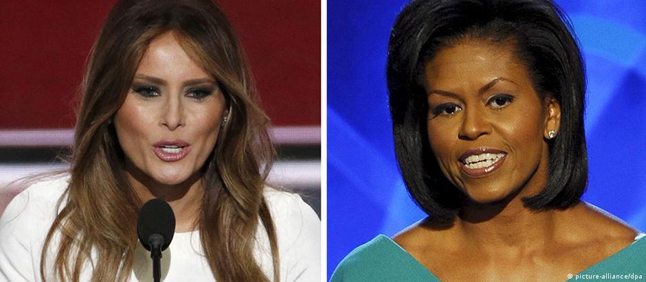 Melania (esq) foi acusada de plagiar discurso de Michelle Obama durante convenção democrata em 2008