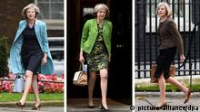 Three photos of UK Prime Minister Theresa May, Copyright: picture-alliance/dpa