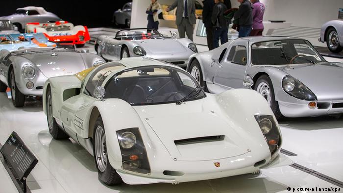 Cars on display at the Porsche Museum in Stuttgart