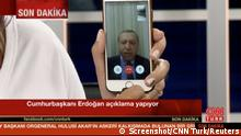 Türkei Präsident Tayyip Erdogan Rede via Facetime aus Marmais (Screenshot/CNN Turk/Reuters)