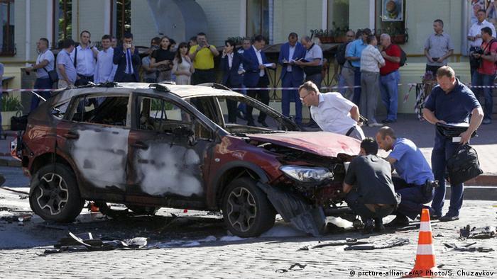 Взорванный автомобиль Павла Шеремета в Киеве