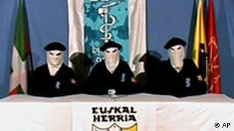 Three ETA members in a still from a video message