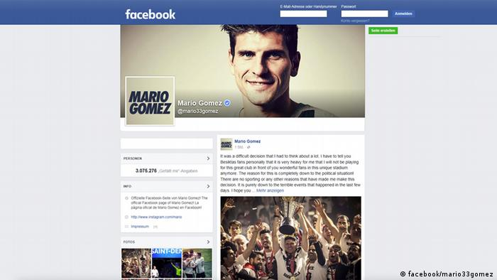 Screenshot Facebook Mario Gomez