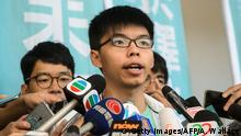 21.07.2016+++ Pro-democracy political activist and a member of the Demosisto party, Joshua Wong, speaks to the media after leaving the Eastern Court in Hong Kong on July 21, 2016. Wong was found guilty on July 21 of participating in a protest that led to mass pro-democracy rallies, in a prosecution blasted as a 'chilling warning' by rights campaigners. +++ (C) Getty Images/AFP/A. Wallace