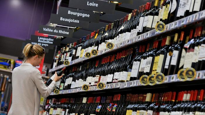 Wine on a supermarket shelf