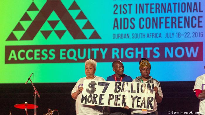 Activists Holding a poster demanding more funds for the fight against HIV and AIDS.