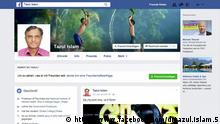 Screenshot von der Facebook-Seite von Dr. Tazul Islam, Professor, Bangladesh National Health Institiute. Quelle: https://www.facebook.com/drtazul.islam.5 +++Nur im Zusammenhang mit der Berichterstattung über die Seite zu verwenden.+++