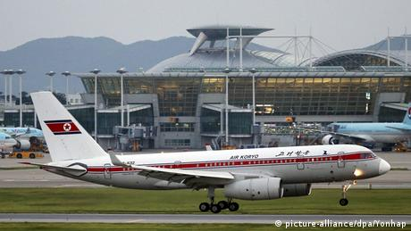An Air Koryo plane, a North Korean state-owned carrier airline, landing at Incheon International Airport, South Korea.