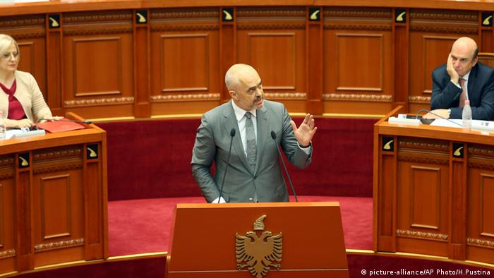 Albania's Prime Minister Edi Rama speaks at the Parliament after approving the judicial reform package