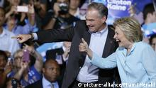 Democratic presidential candidate Hillary Clinton introduces running mate Virginia Sen. Tim Kaine at Florida International University in Miami on Saturday, July 23, 2016. (Al Diaz/Miami Herald/TNS) Photo via Newscom picture alliance | Copyright: picture-alliance/Miami Herald