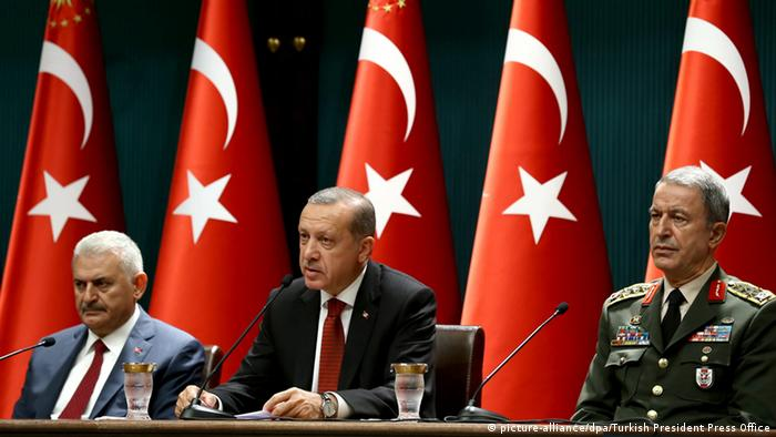 Turkish President Recep Erdogan with Prime Minister Yildirim Akar