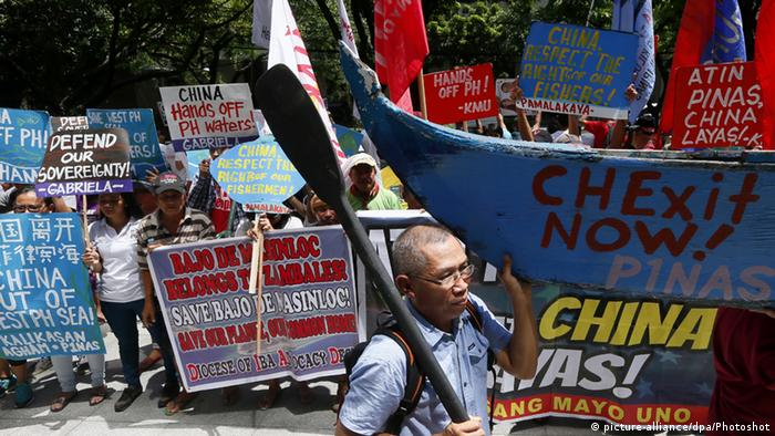 Protest auf den Philippinien South China Sea