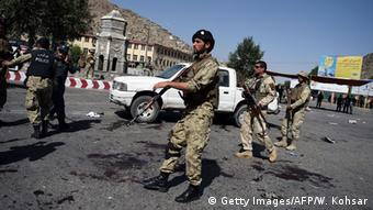 Afghan security personnel arrive after a suicide attack that targeted crowds of minority Shiite Hazaras during a demonstration at the Deh Mazang Circle of Kabul on July 23, 2016 (Photo: Getty Images/AFP/W. Kohsar)