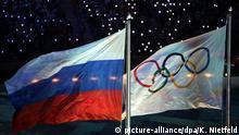 Symbolbild Russland und Olympische Spiele Flagge