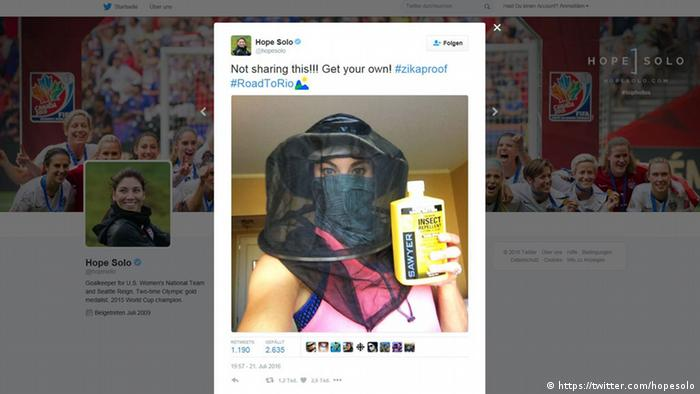 Screenshot do Twitter da goleira norte-americana Hope Solo.