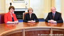 UK Prime Minister Theresa May (C) meets Minister of Northern Ireland Arlene Foster (L) and deputy First Minister of Northern Ireland Martin McGuiness (R) in Northern Ireland.