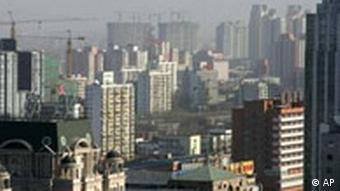 Blick auf die Hochhauslandschaft Pekings