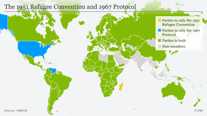Infografik The 1951 Refugee Convention an d1967 Protocol Englisch