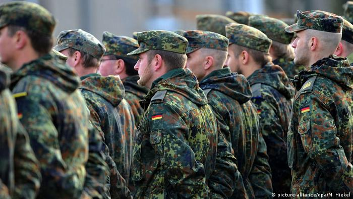 German Bundeswehr soldiers stand in a line
