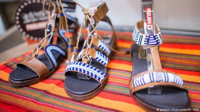 Beaded sandals at the GDS shoe fair in Dusseldorf 2016, Copyright: picture-alliance/dpa/M. Hitij