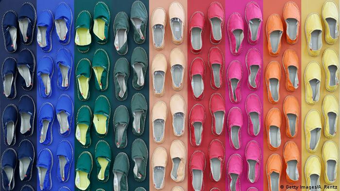 Colorful espadrilles at the GDS shoe fair in Dusseldorf 2016, Copyright: picture-alliance/dpa/M. Hitij