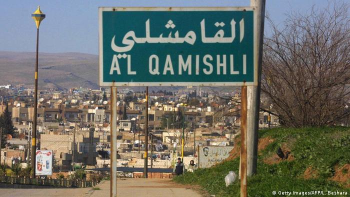 Syrien Stadt Kamischli Straßenschild