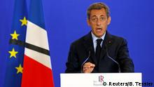 26.7.2016 *** Nicolas Sarkozy, head of France's Les Republicains political party and former French president, makes a statement at his party's headquarters in Paris Nicolas Sarkozy, head of France's Les Republicains political party and former French president, makes a statement at his party's headquarters in Paris, France, after a priest was killed with a knife and another hostage seriously wounded in an attack on a church in Saint-Etienne-du-Rouvray carried out by assailants linked to Islamic State, July 26, 2016. REUTERS/Benoit Tessier Copyright: Reuters/B. Tessier Copyright: SWP