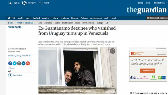 Screenshot Website The Guardian