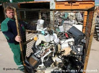 A jumble of electronic junk at a Berlin recycling center