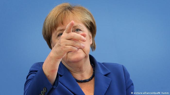 Angela Merkel während ihrer Sommerpressekonferen (Bild: dpa)