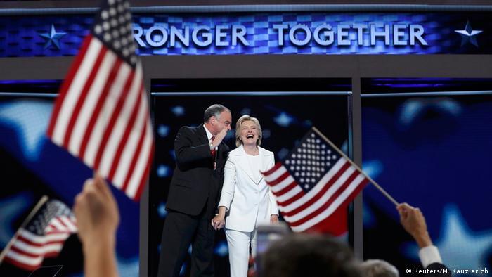 Хиллари Клиентон во время официального выдвижения кандидатом в президенты