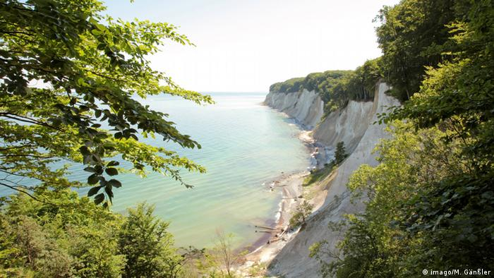 Chalk cliffs near Sassnitz rising out of the sea