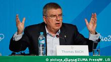 July 31, 2016*** RIO DE JANEIRO, July 31, 2016 International Olympic Committee (IOC) President Thomas Bach addresses a press conference at the Main Press Center (MPC) of Rio Olympic Games in Rio de Janeiro, Brazil, on July 31, 2016. dh | picture alliance/ZUMA Press/W. Lili