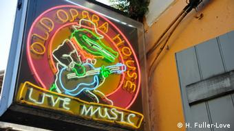Sign that says Old Opera House Live Music in Bourbon Street, New Orleans (Picture: H. Fuller-Love).